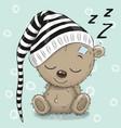 sleeping cute teddy bear in a hood vector image vector image