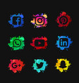 social media set with ink splashed vector image