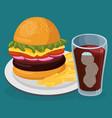 soda with amburger fast food menu vector image vector image