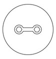 spanner black icon outline in circle image vector image vector image