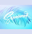 summer lettering design in a colorful blue vector image vector image