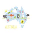 tourist poster with symbols animals australia vector image vector image