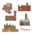 travel landmarks of france with tourist sights vector image vector image