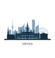 vienna skyline monochrome silhouette vector image vector image
