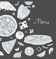 vintage pizza bakground on black background vector image