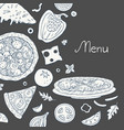 vintage pizza bakground on black background vector image vector image