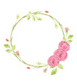 watercolor pink english rose wreath frame vector image vector image