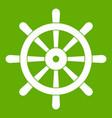 wooden ship wheel icon green vector image vector image