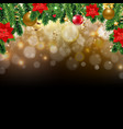 xmas card with christmas poinsettia and fir tree vector image vector image