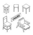 3d line drawn isometric chairs white background vector image