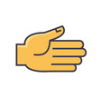 open hand gesture concept line icon vector image