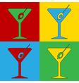 Pop art martini glass icons vector image