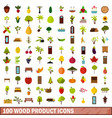 100 wood product icons set flat style vector image vector image