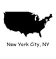 1273 new york city on usa map vector image