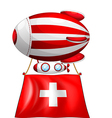 A stripe-colored balloon carrying the Switzerland vector image vector image