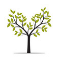 black tree with green leafs vector image