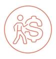 Businessman with big dollar symbol line icon vector image vector image