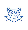 cat head line icon concept cat head flat vector image vector image