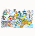christmas and new year village on white vector image vector image