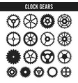 Clock gears black icons isolated on white