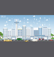 concept of smart city on urban landscape vector image vector image