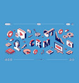 crm customer relationship management web banner vector image