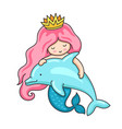 cute little mermaid with wavy long pink hair and vector image
