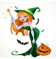 cute sexy witch in green dress with magic vector image vector image