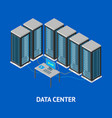 data center poster card isometric view vector image vector image