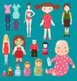 dolls toy character girls and boys human vector image vector image
