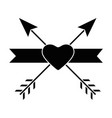 emblem with heart and arrows icon vector image