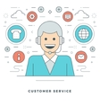 Flat line Personal Manager and Support vector image