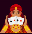 fortune teller with four card aces vector image
