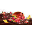 fresh mango with strawberries on a chocolate wave vector image vector image