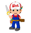funny carpenter cartoon vector image