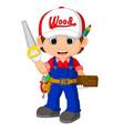 funny carpenter cartoon vector image vector image