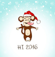 funny monkey enjoy the first snow vector image vector image