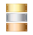 golden silver and bronze podium plates isolated vector image