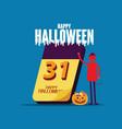 halloween calendar happy halloween celebration vector image vector image