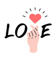 hand with sign mini heart with word love vector image vector image