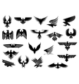 Heraldic eagles falcons and hawks set vector image vector image