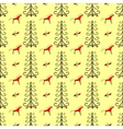 Horses in the forest amongst fir trees seamless vector image