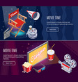 isometric colorful cinema horizontal banners vector image vector image