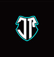 j t initial logo design with a shield shape vector image vector image