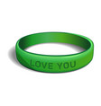 love you green plastic wristband vector image vector image