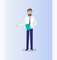 man with folder in hands isolated on blue vector image