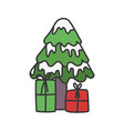 merry christmas tree with snow and gift boxes vector image vector image