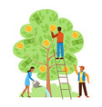 money tree characters picking cash from money vector image