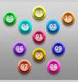 number buttons 3d pointing bullets isolated vector image vector image
