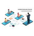 online school smartphones composition vector image vector image